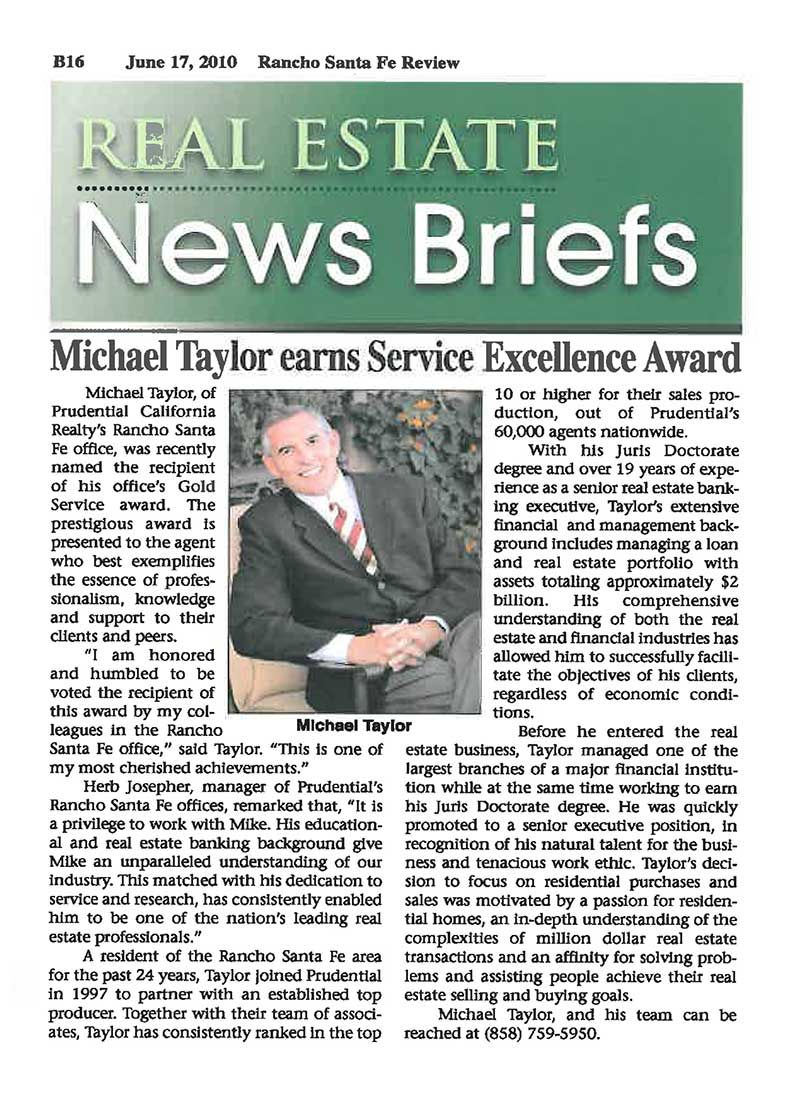 The Michael Taylor Group- Service Award