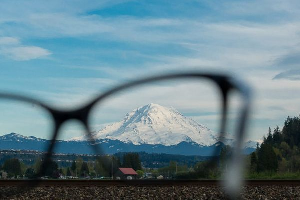 eyeglasses and a landscape