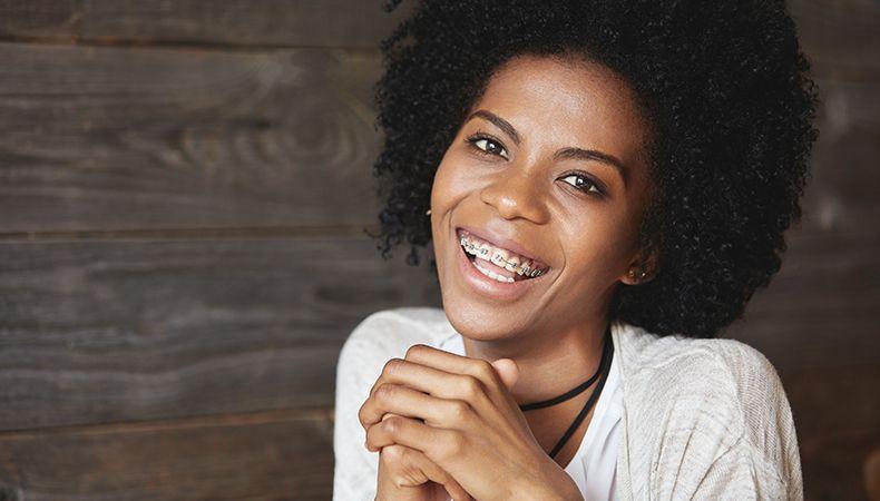 woman in adult braces