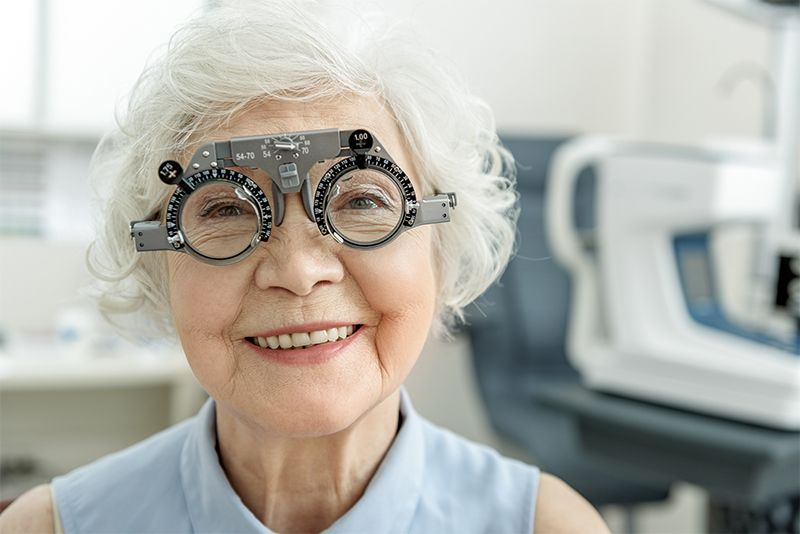 lady receiving an eye exam