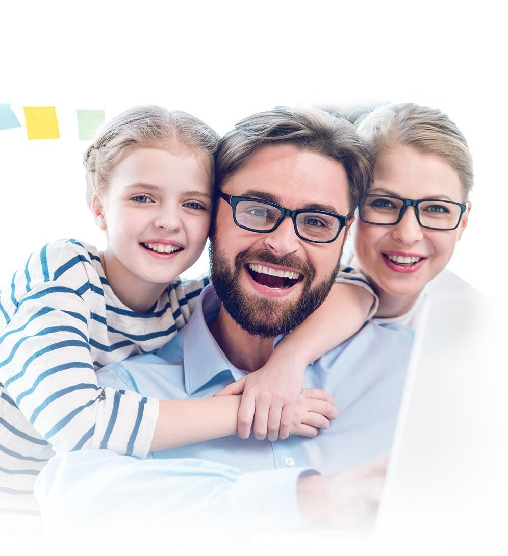 happy family wearing glasses