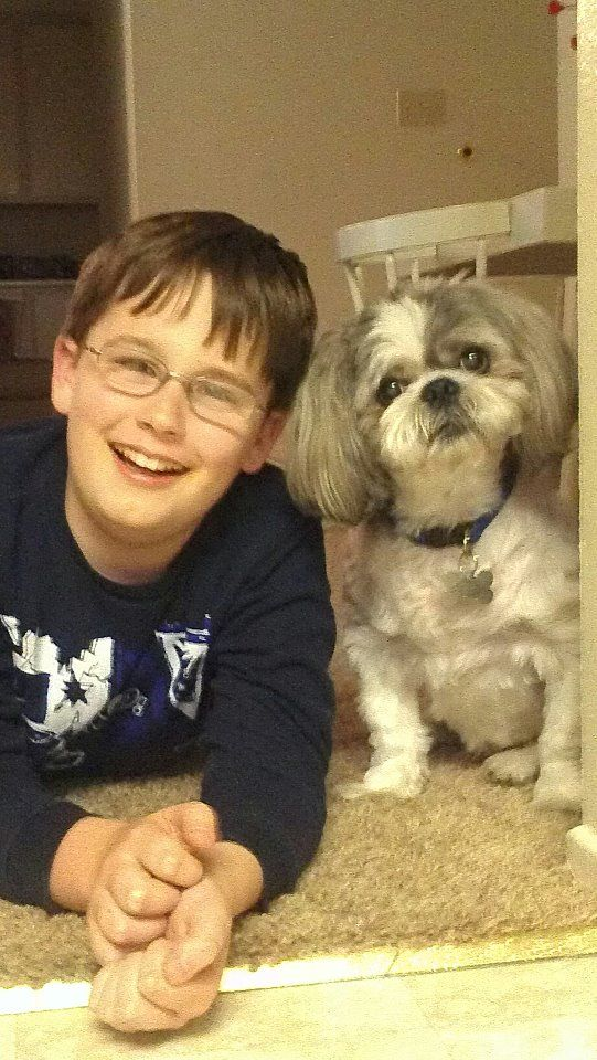dog and a smiling kid
