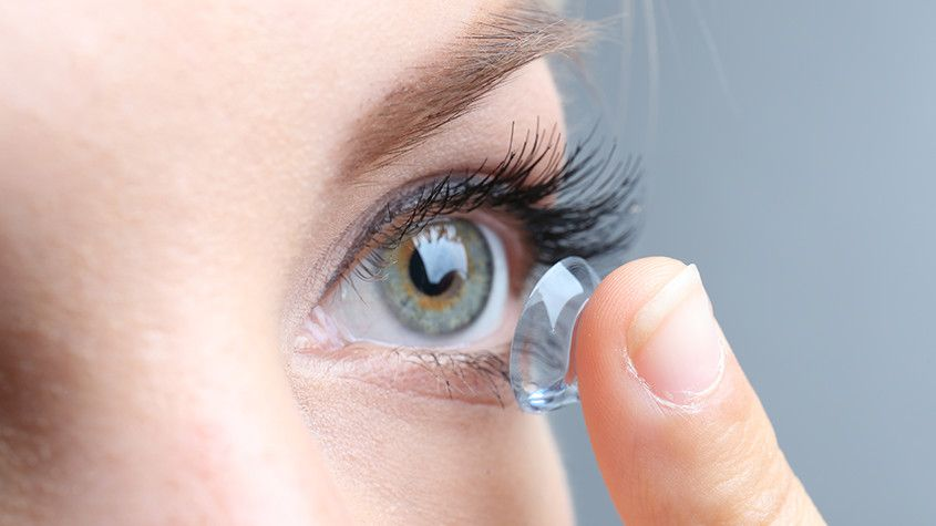 woman wearing clearing contact lenses
