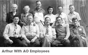 Arthur with AO employees