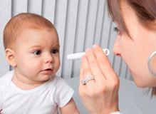 baby in an eye test