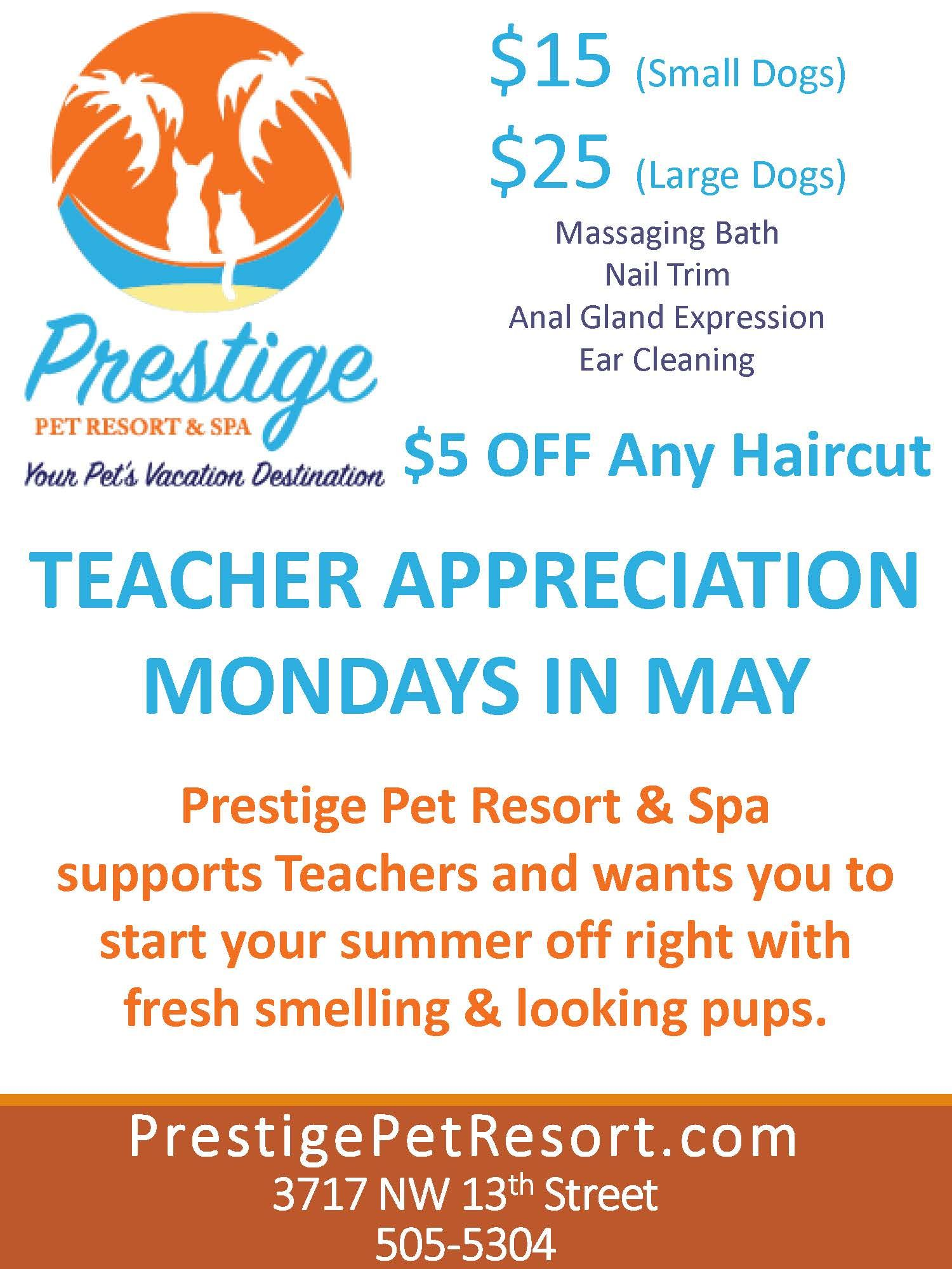 Teacher Appreciation Grooming Specials - Mondays in May