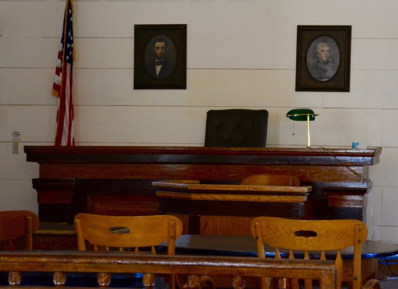 wooden furniture in mariposa county courthouse