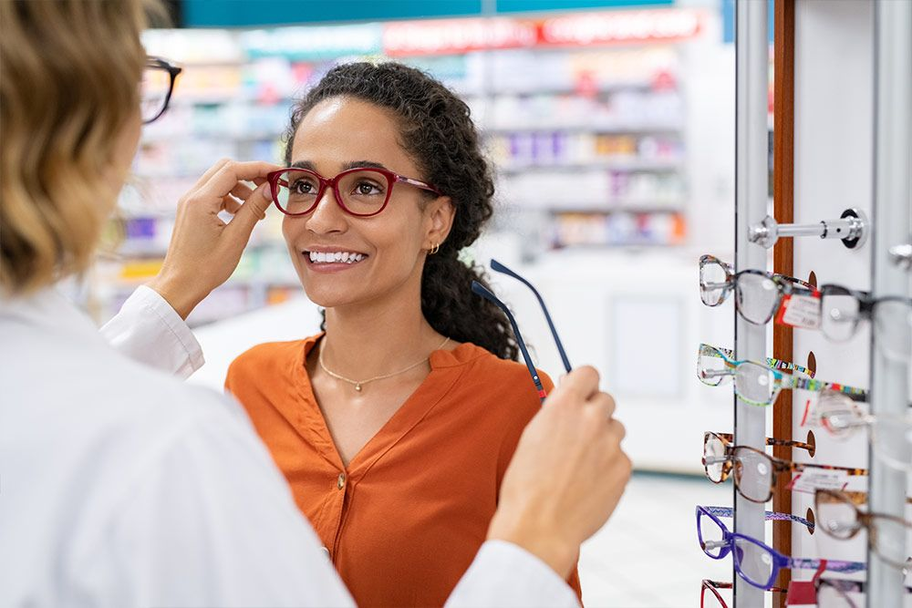 Eye doctor with patient