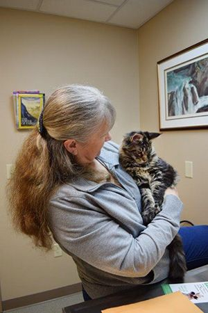 Alise Horrell and her Maine Coon, Manny, are ready for his visit.
