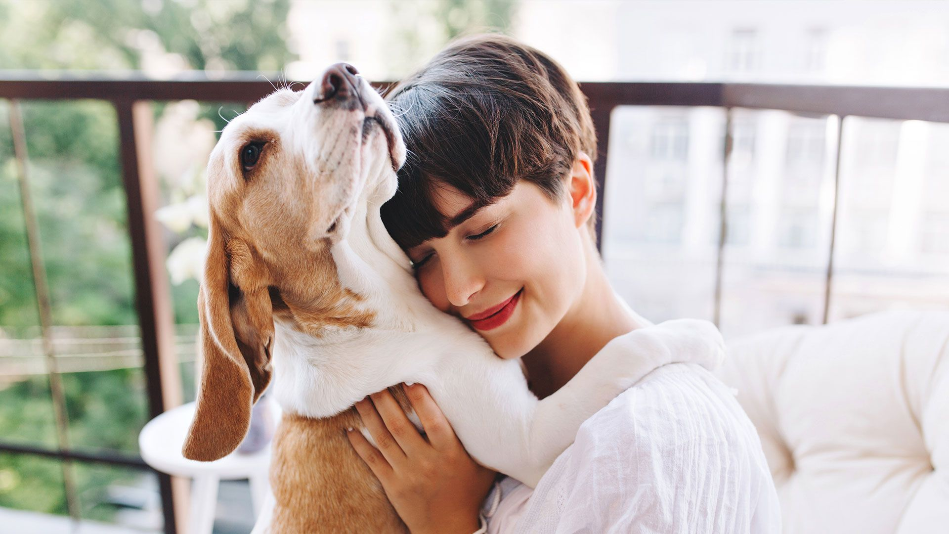 Happy Dog and Happy Woman