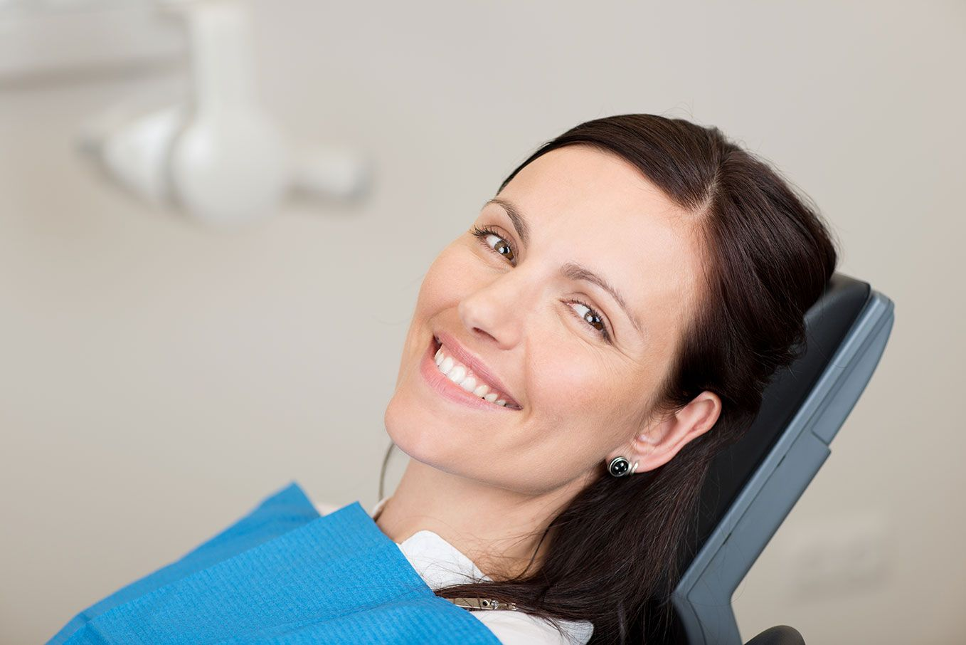 smiling woman in a dental clinic