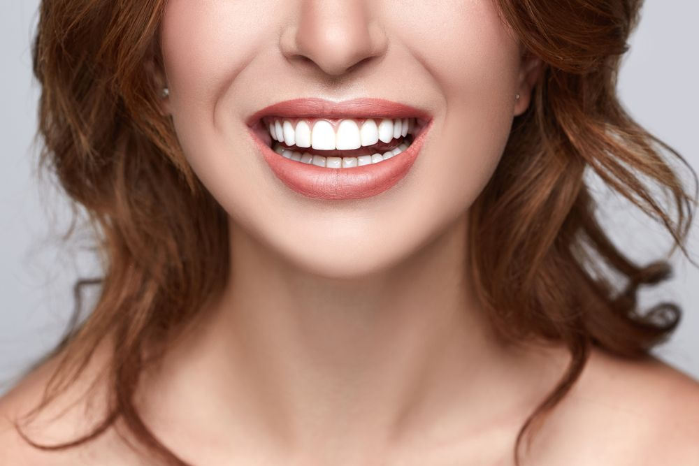 Healthy white smile close up