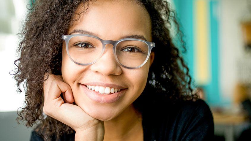 Young girl wearing eyeglasses