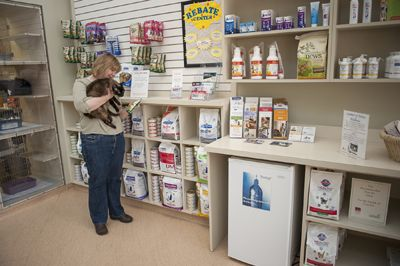 woman and dog looking at pet products