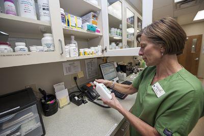 veterinarian holding medicine