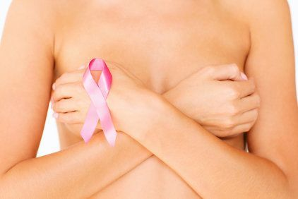 breast with pink ribbon