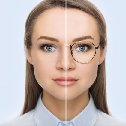 smiling woman with vision chart