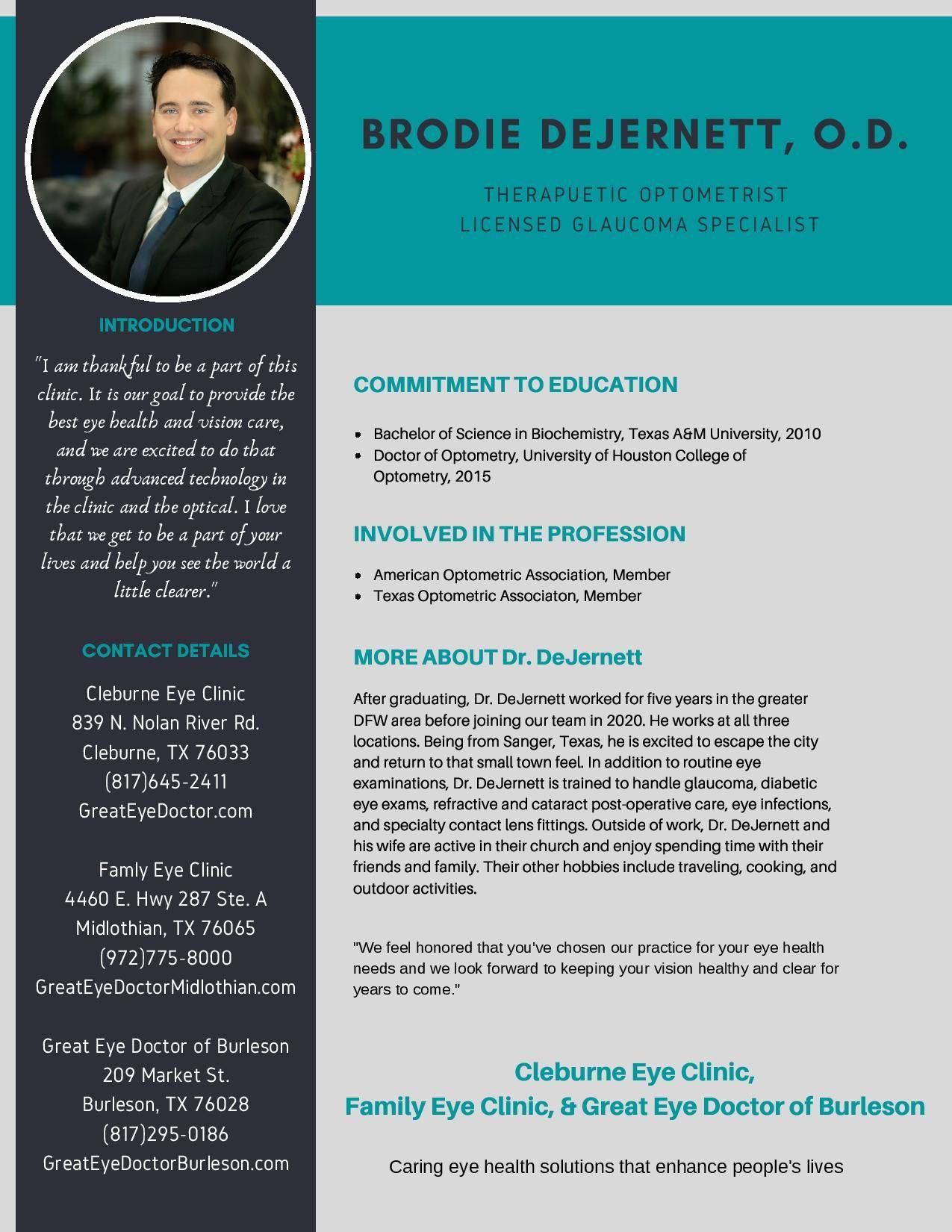 Dr. Brodie DeJernett - Therapeutic Optometrist