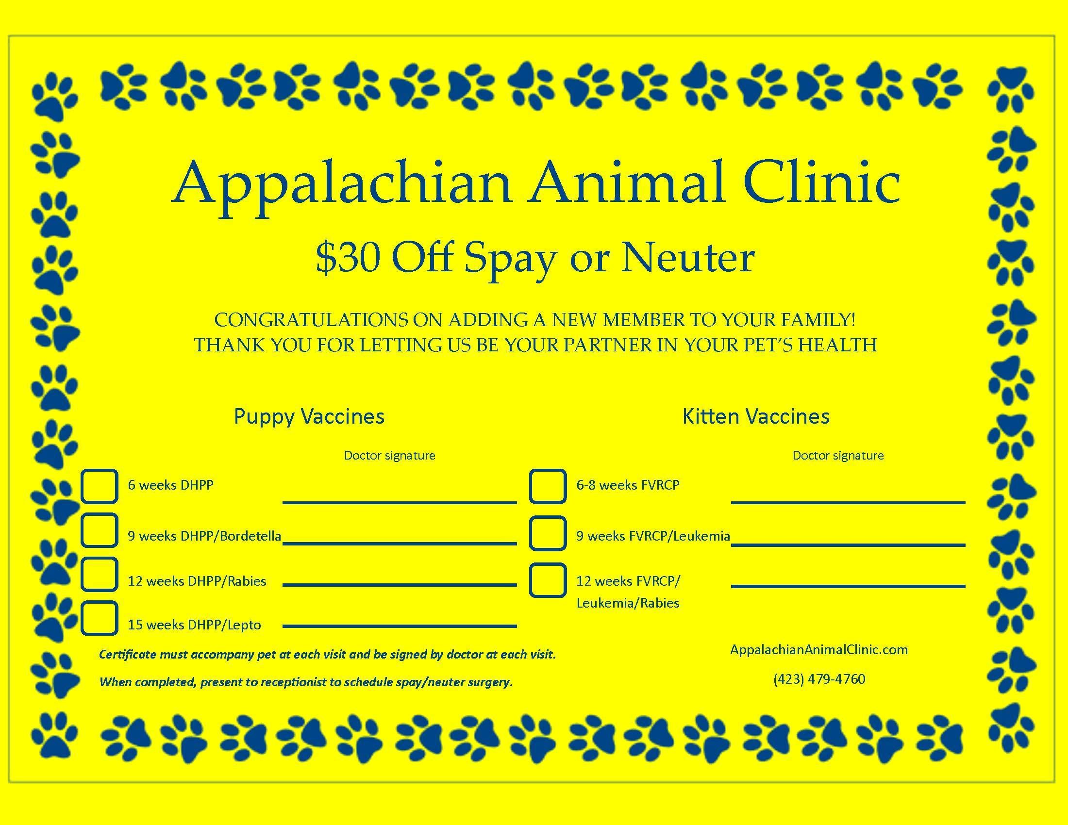 Save on Spay/Neuter for Puppies/Kittens