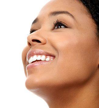 woman smiling upwards