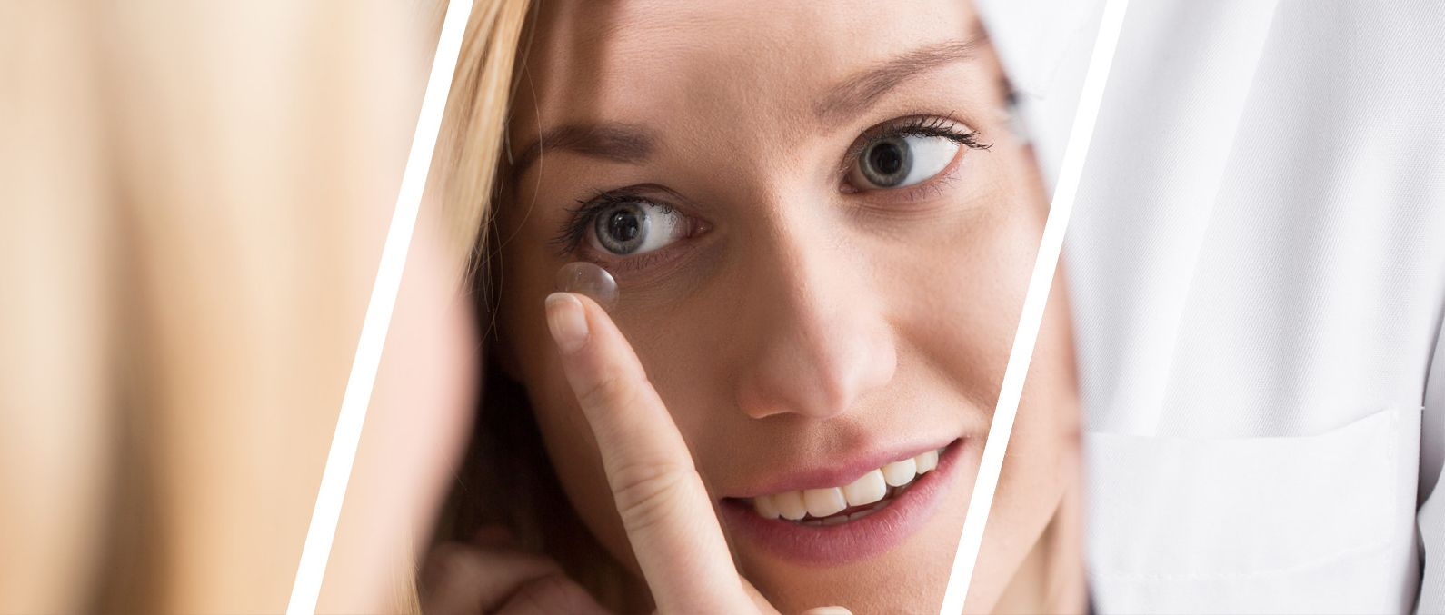 lady putting in contact lenses