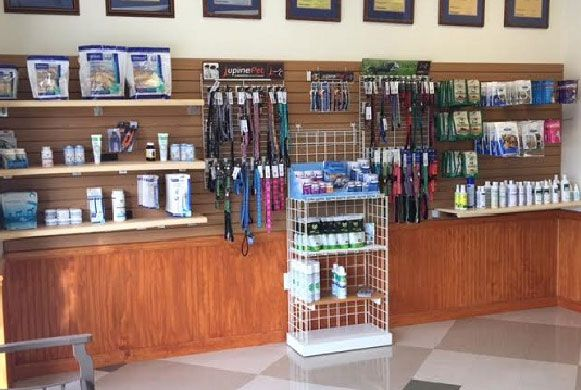 Product Wall - We carry many things from Furminators and pet care items to fancy Lupine collars and leashes.