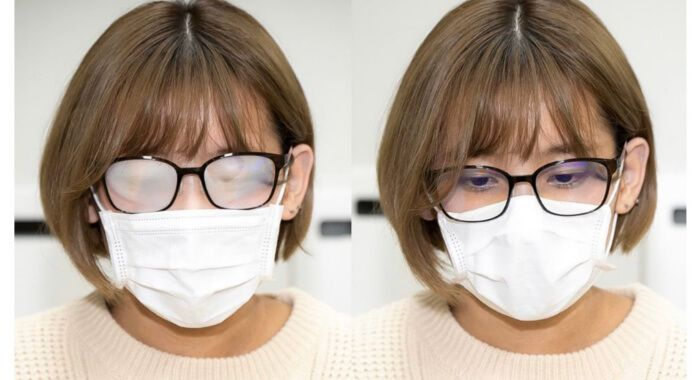 What can you do to keep your mask from fogging your glasses?