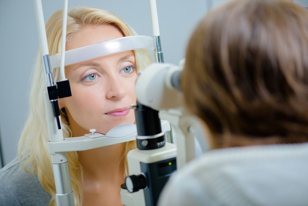 patient in eye exam
