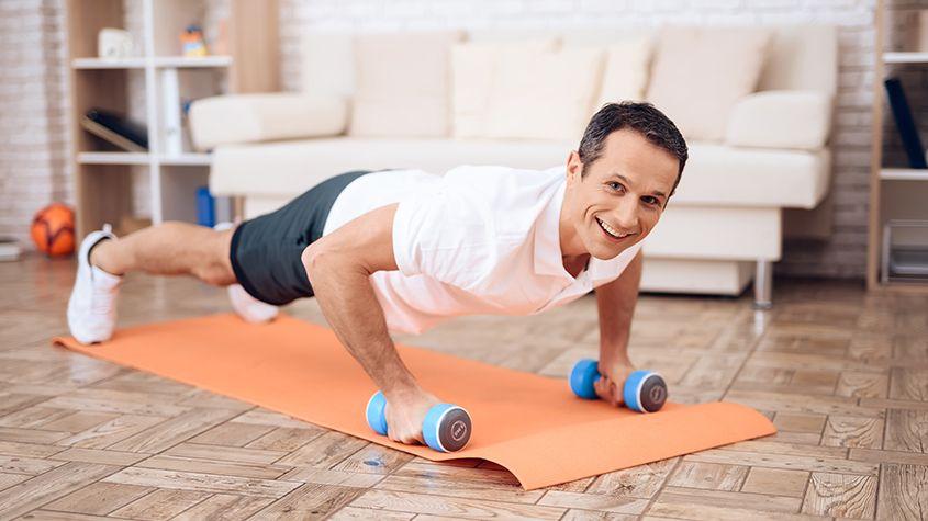 Senior doing pushup exercises