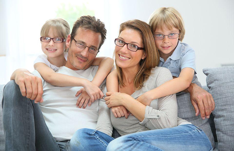 Family wearing glasses