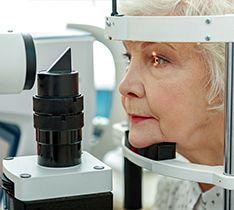 Senior having an eye exam