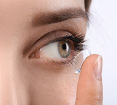 Woman wearing clear contact lense