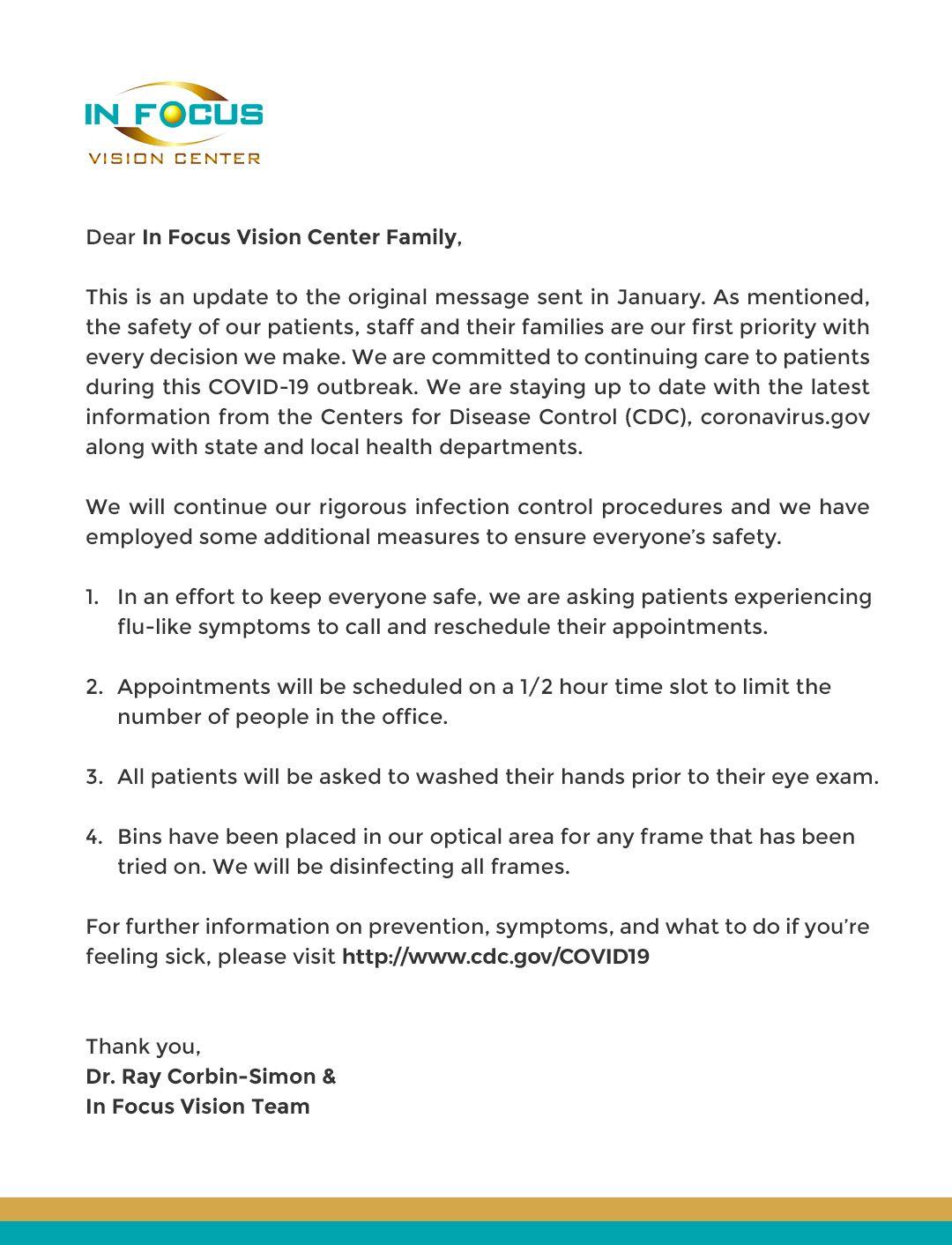 Message from Dr. Ray Corbin- Simon regarding COVID-19