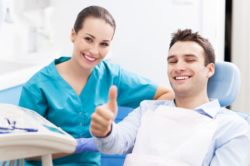 smiling patient in a dental clinic