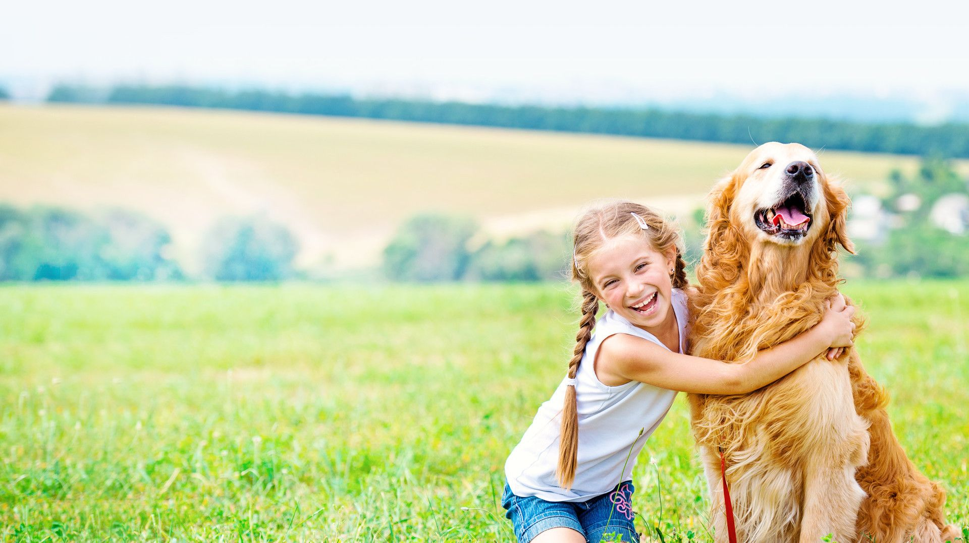 girl hugging a dog