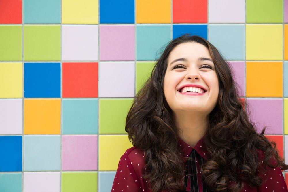 happy lady smiling