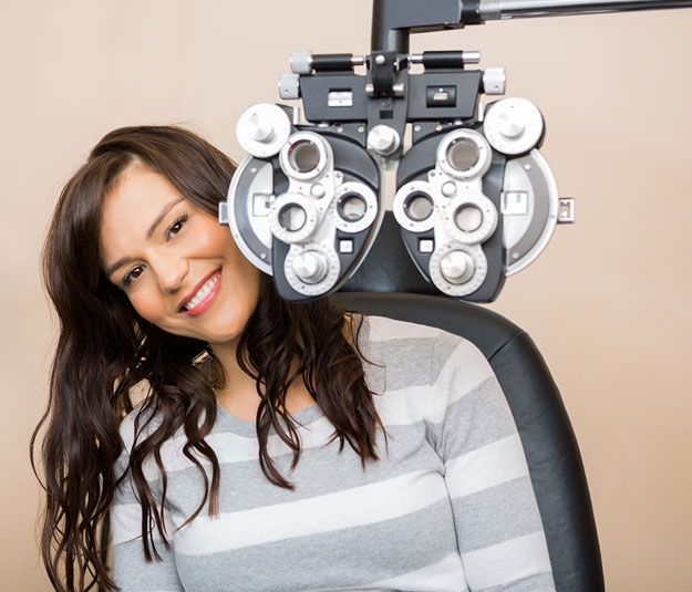 lady in optometrist exam
