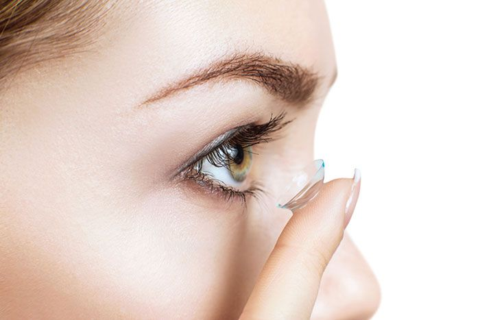 lady wearing contact lenses