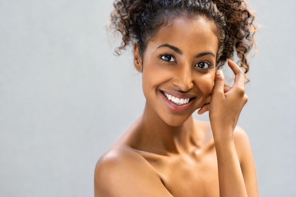 beautiful black woman smiling