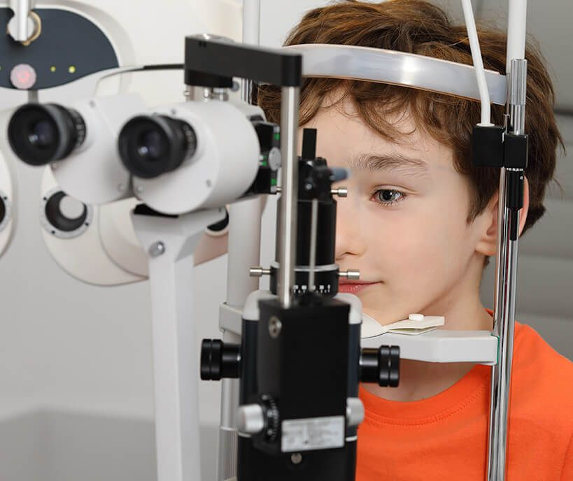 child in an eye exam