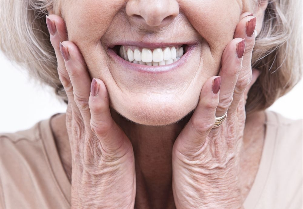 Close up view on senior with dentures