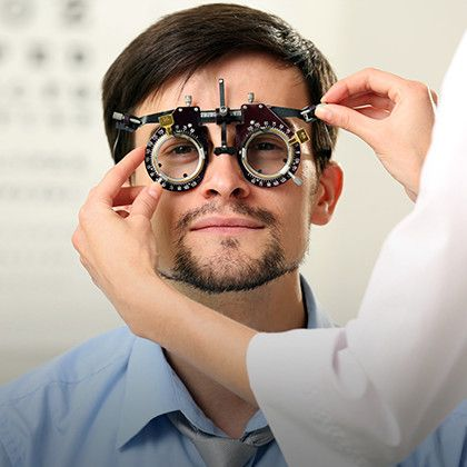Male patient gets eye examination