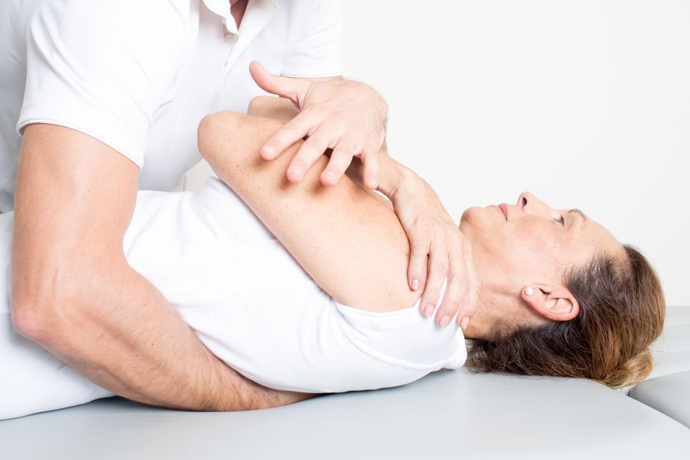 woman in a chiropractic adjustment