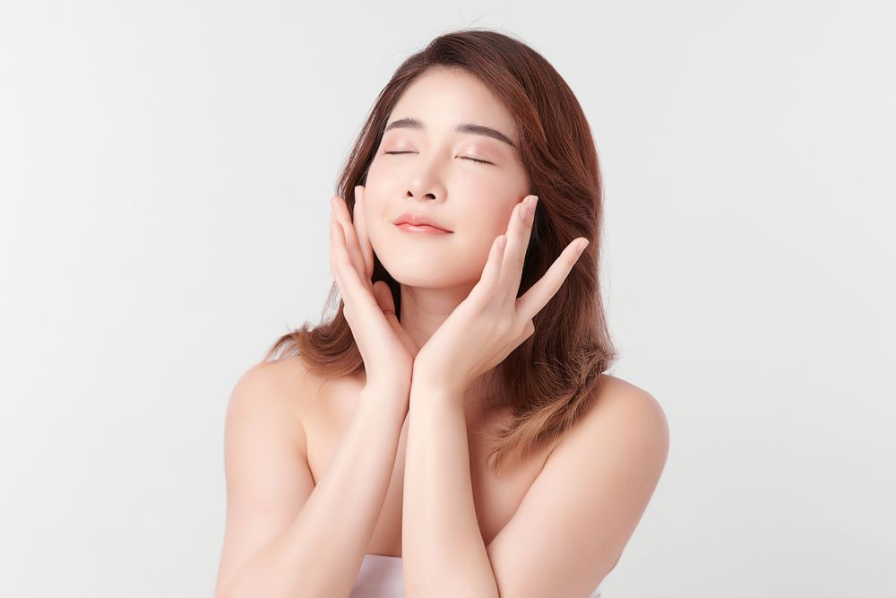 woman with clean fresh skin on white background