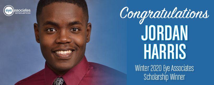Student scholarship Winner Jordan Harris Winter 2020