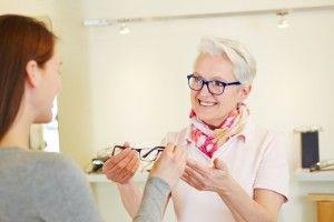 Old women wearing eye glass