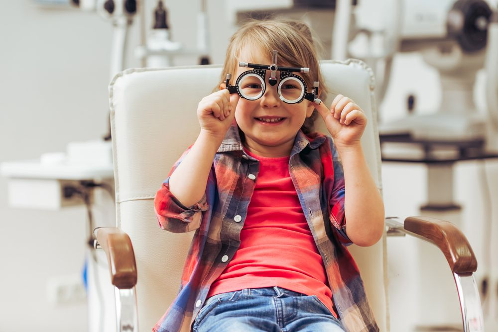 child in an eye exam