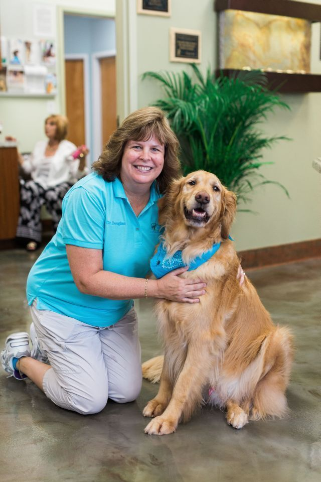 dr. cherry douglas and golden retriever